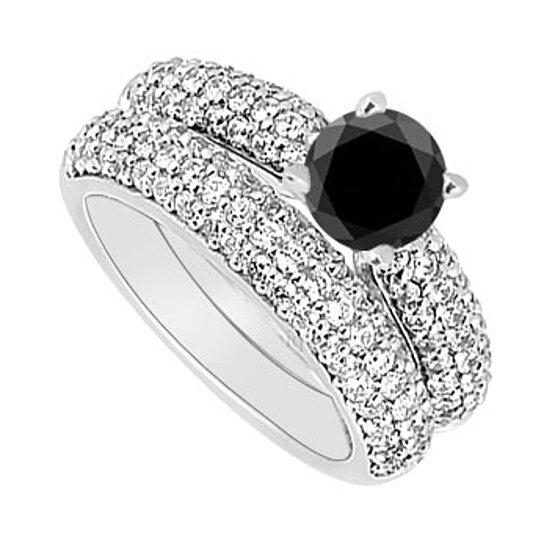Buy 14K White Gold Black And White Diamond Engagement Ring With Wedding Band Set 180 CT TDW By