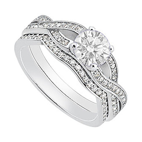 buy 14k white gold cubic zirconia engagement ring with