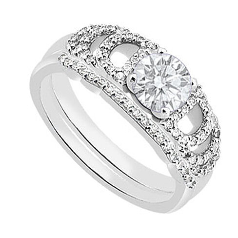 buy 14k white gold cubic zirconia engagement rings with cz