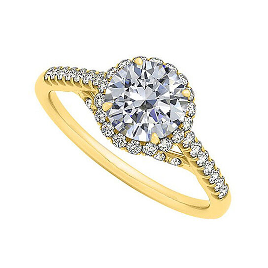 Buy Cubic Zirconia Specially Designed Engagement Ring in 14K Yellow Gold Best
