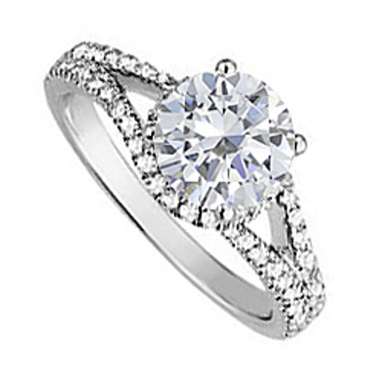 Buy Cubic Zirconia Split Shank Engagement Ring in Sterling Silver Quality Pro