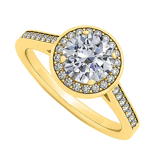 Buy Diamond Halo Engagement Ring In 14K Yellow Gold
