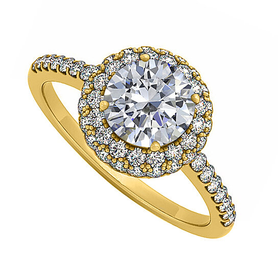 Buy Double Halo Cubic Zirconia Engagement Ring in 14K Yellow Gold Best Price