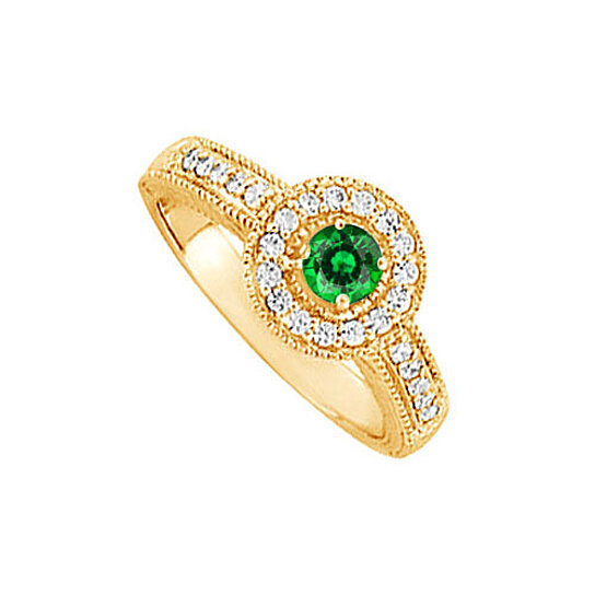 Buy Emerald and CZ Halo Engagement Ring in 14K Yellow Gold Best Design Reason
