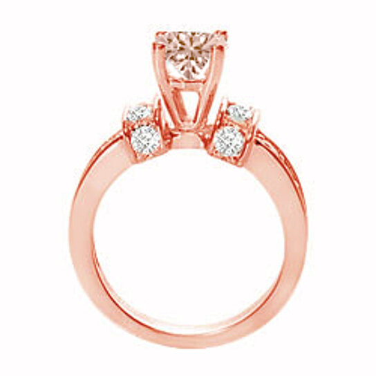 Buy Prong Set Morganite and Diamonds on 14K Rose Gold Engagement Ring at Fab