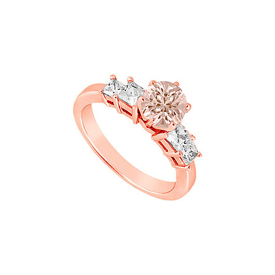 Buy Six Prong Set Morganite and Four Diamonds on 14K Rose Gold Engagement Rin