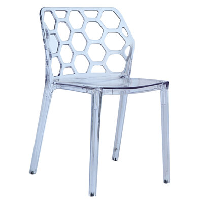 Fine Mod Imports Honeycomb Dining Chair, Clear