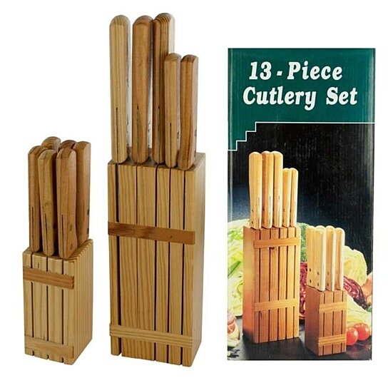 Buy 13 Piece Cutlery Set With Wood Storage Blocks By FlashSpree On OpenSky