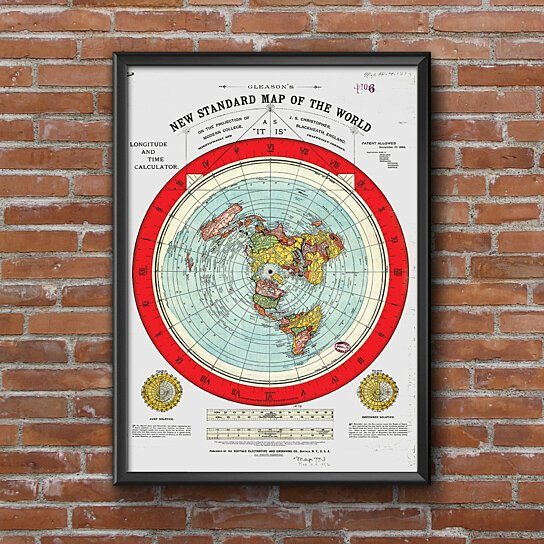 1892 Map Of The World.Buy Flat Earth Map Gleason S New Standard Map Of The World Large