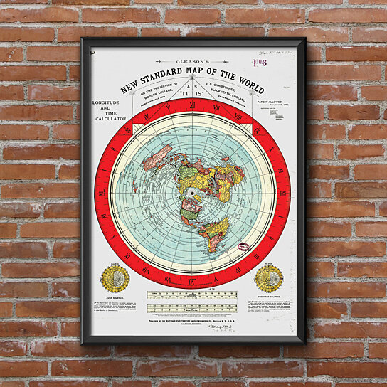 Buy Flat Earth Map Gleason S New Standard Map Of The World Large
