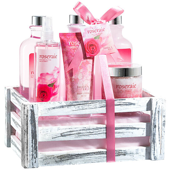 Buy Beautiful Luxurious Pink Rose Bath Gift Set For Women By