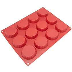 Freshware Silicone Mold for Pie, Tart, Custard, Cookie and Quiche, 12-Cavity