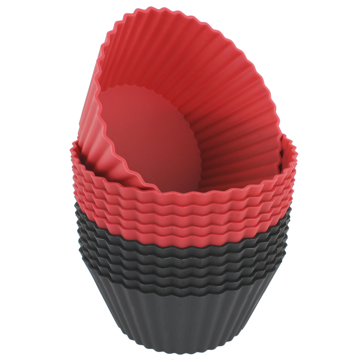 Freshware Silicone Cupcake Liners / Baking Cups - 12-Pack Jumbo Muffin Molds, 3-6/8 inch Round, Red and Black Colors 55f5e579a3771c296d8b9cd8