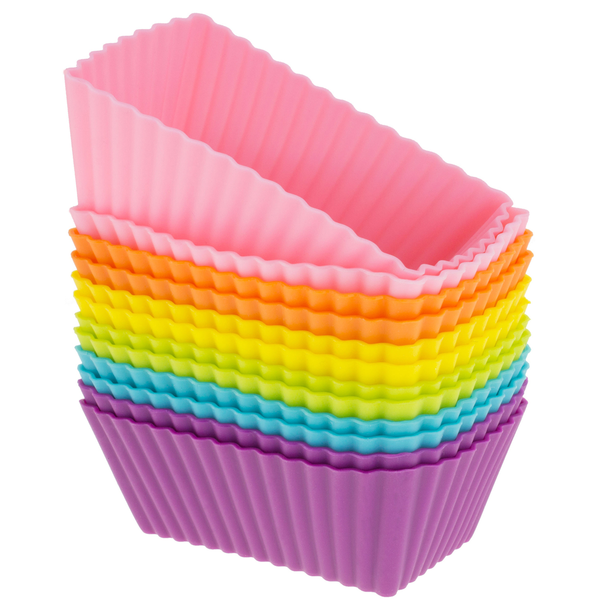 Freshware Silicone Cupcake Liners / Baking Cups - 12-Pack Muffin Molds, Rectangle, Six Vibrant Colors 554e30d07aaaaa6d388b4603