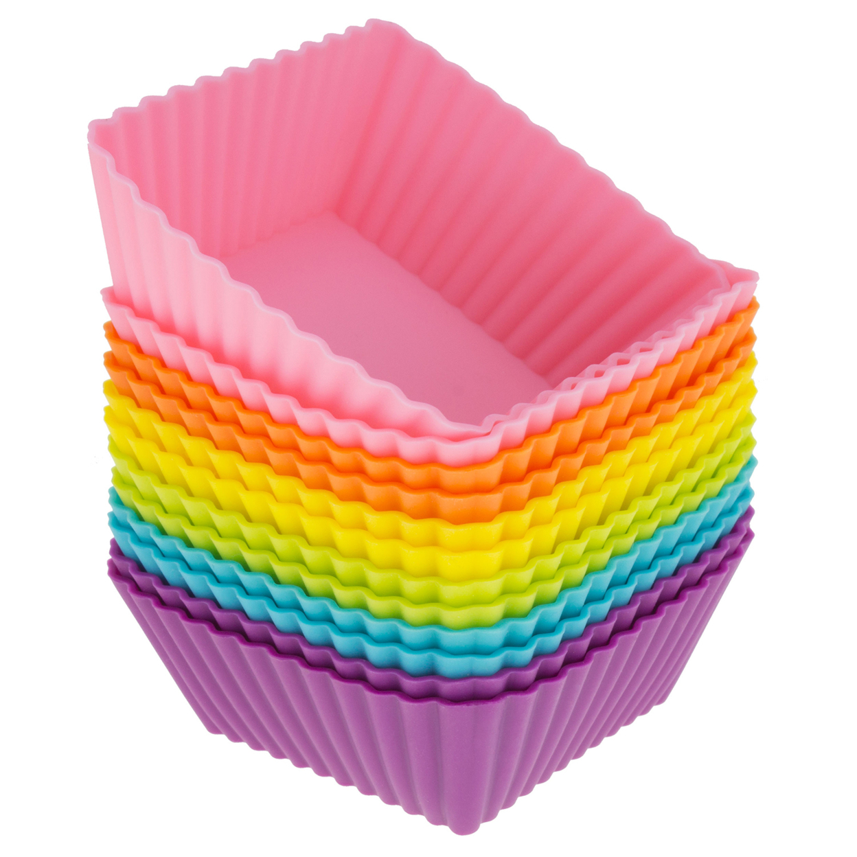 Freshware Silicone Cupcake Liners / Baking Cups - 12-Pack Muffin Molds, 2.5 inch Square, Six Vibrant Colors 554e30d17aaaaa6d388b463f