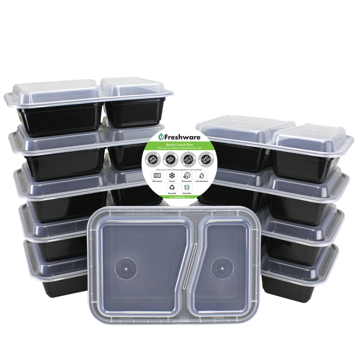 Freshware 10-pack 2 Compartment Bento Lunch Boxes With Lids Meal Prep, Portion Control, 21 Day Fix & Food Storage Containers (27oz)