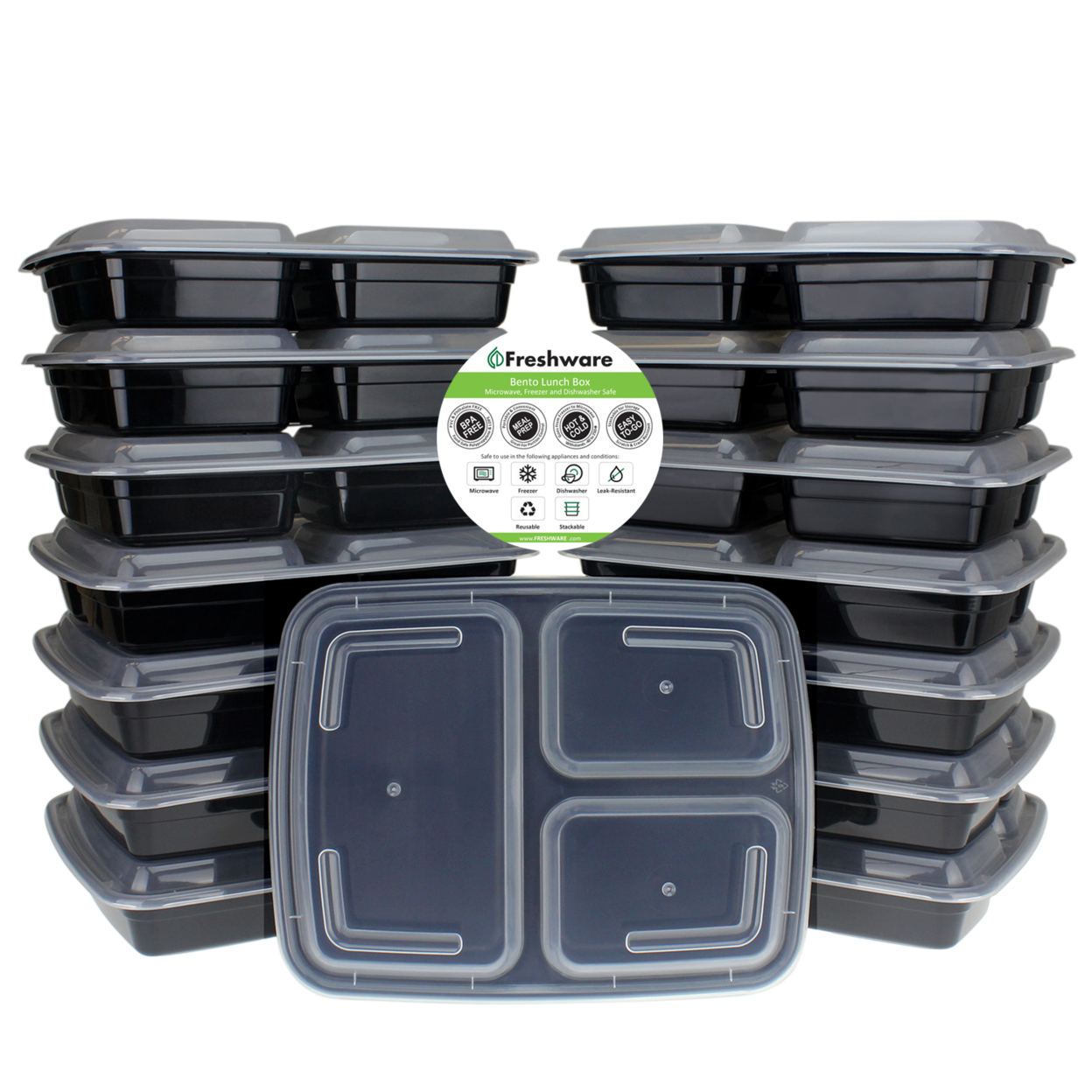 Freshware 15-pack 3 Compartment Bento Lunch Boxes With Lids Meal Prep, Portion Control, 21 Day Fix & Food Storage Containers (32oz)