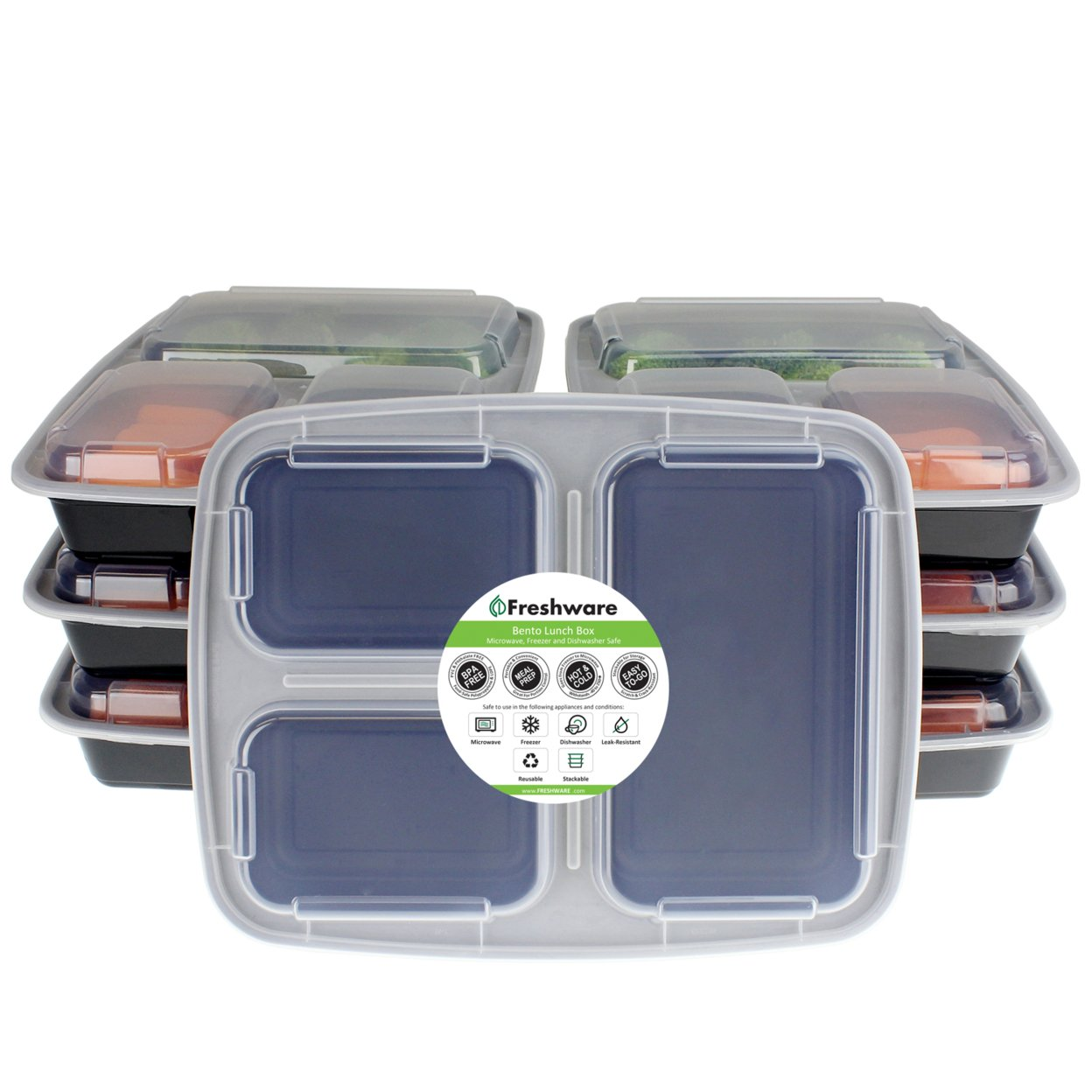 Freshware 7-pack 3 Compartment Bento Lunch Boxes With Lids Meal Prep, Portion Control, 21 Day Fix & Food Storage Containers (32oz)