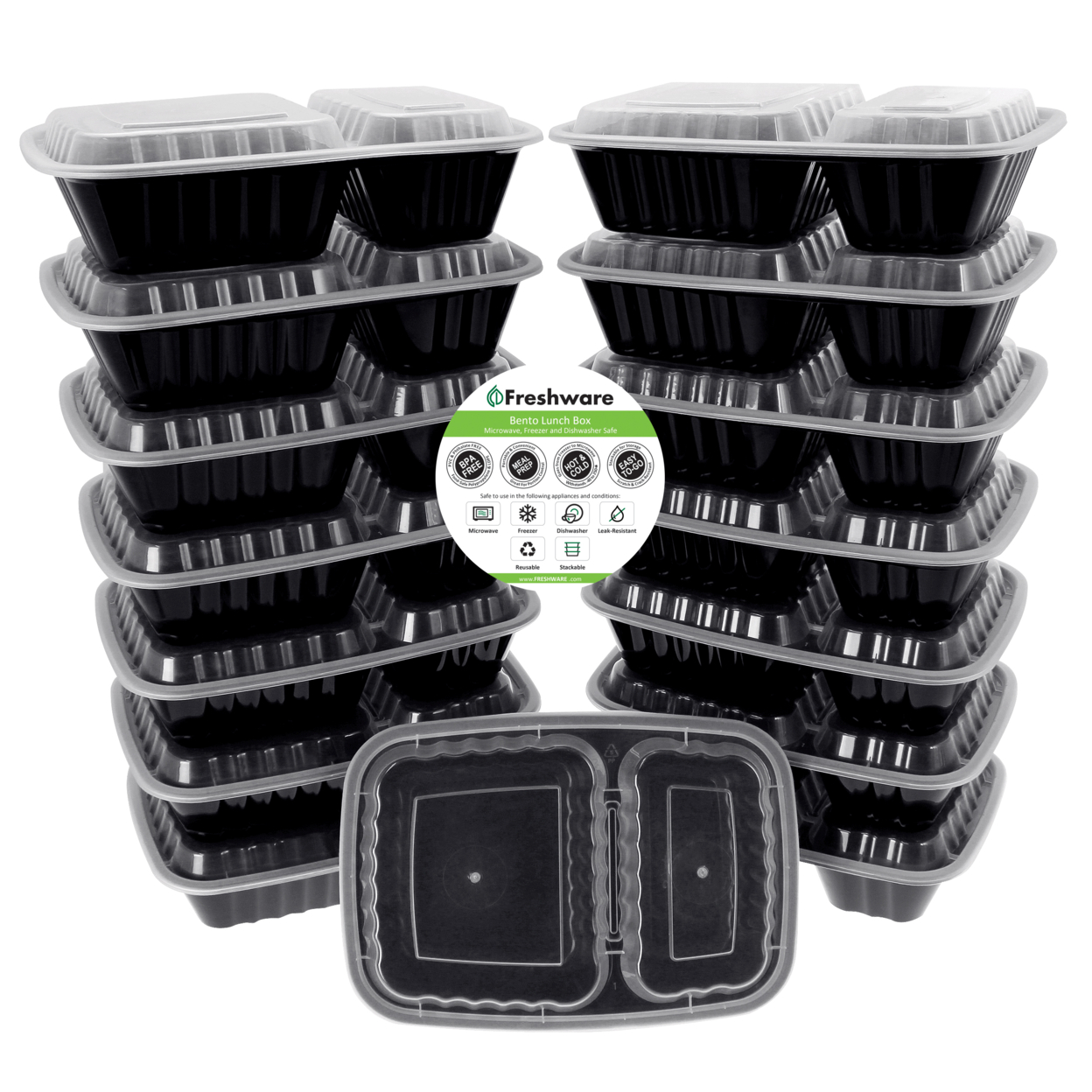 Freshware 15-pack 2 Compartment Bento Lunch Boxes With Lids Meal Prep, Portion Control, 21 Day Fix & Food Storage Containers (27oz)