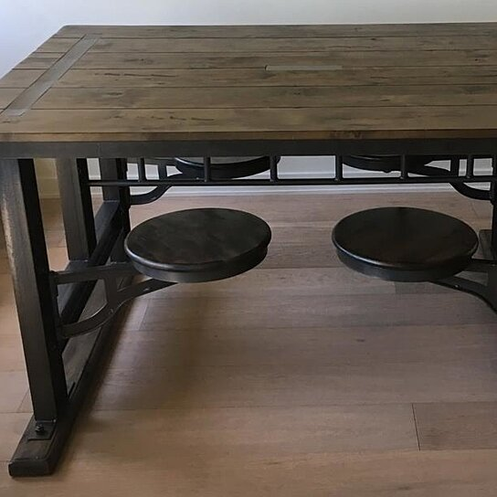 Buy World Market Galvin Cafeteria Table Metal / Lenga Wood + 2 Stools By  From Trash 2 Treasure SF On OpenSky