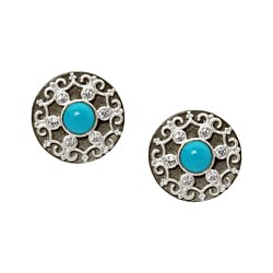 Two Tone 13mm Turquoise Disks Stud Earrings
