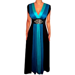 FUNFASH BLUE BLACK COLOR BLOCK LONG MAXI COCKTAIL DRESS Plus Size MADE in USA
