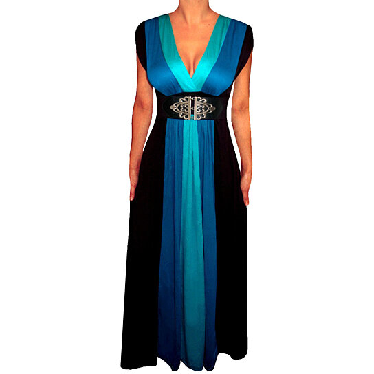 Buy funfash blue black color block long maxi cocktail for Cocktail usa