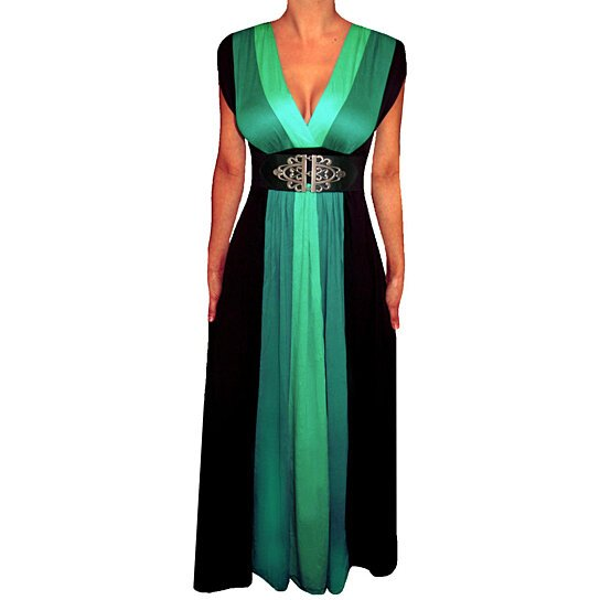 Buy Funfash Green Black Color Block Maxi Women\'s Plus Size Dress ...
