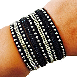 Fitbit Bracelet for Fitbit Flex and Other Fitness Activity Trackers - The TINLEY Black Rhinestone Studded Snap Bracelet