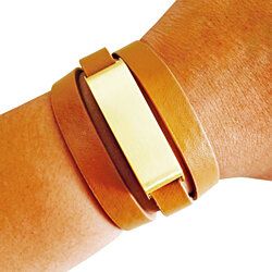 Fitbit Bracelet for Fitbit Flex Fitness Activity Trackers - The KATE Brushed Gold and Tan Premium Vegan Leather Buckle Wrap Bracelet