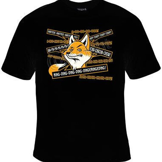 Buy fox says ring dind ding dong screen print cool funny for Graphic t shirt printing company