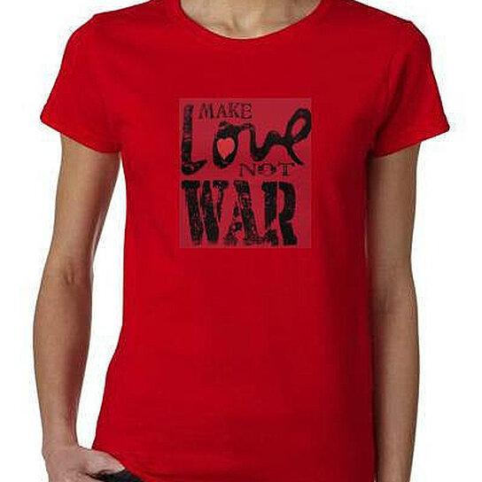 Buy make love not war ladies women tops shirt cool t shirt for Made to order shirts online