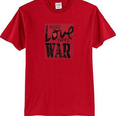 Buy make love not war tshirts clothes t shirts tees tee t for Made to order shirts online