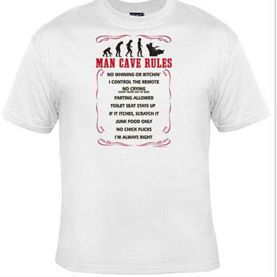 Buy man cave rules cool funny humorous clothes t shirts for Graphic designs for t shirts