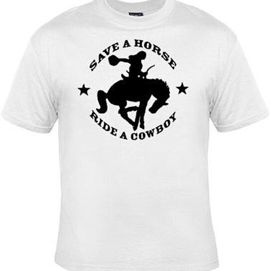 Buy tshirt save a horse ride a cowboy screen print cool for Graphic designs for t shirts