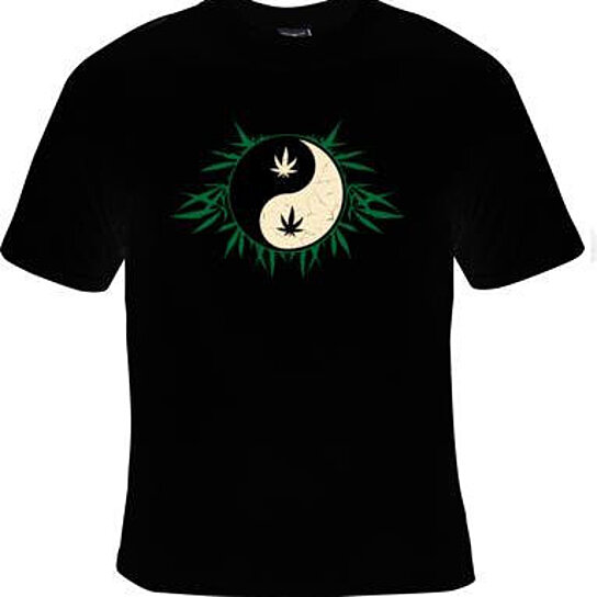 Buy tshirt yin yang with leaves logo tshirts clothes t for Logo t shirts online