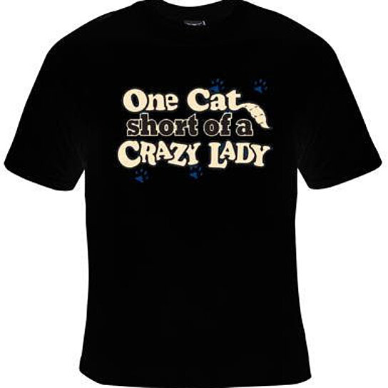 Buy unisex tshirt one cat short crazy lady screen print for Crazy t shirt designs