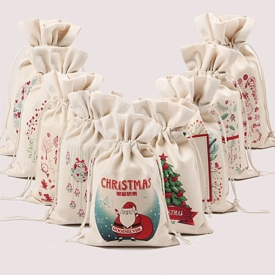 7 Colors Christmas Gift Bags Canvas Santa Sack