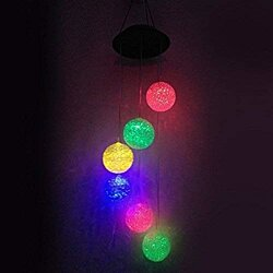 Solar energy color wind chime particle ball led light