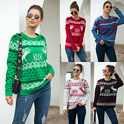 Deer Fluffy Christmas Sweater in 5 Colors