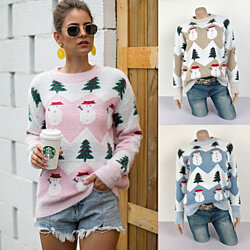 Snowman Christmas Tree Fluffy Sweater