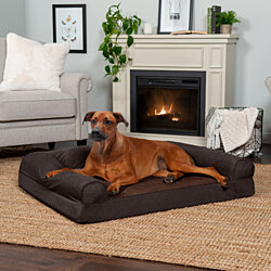 FurHaven Pet Dog Bed | Orthopedic Faux Fleece & Chenille Sofa-Style Couch Pet Bed for Dogs & Cats - Available in Multiple Colors & Sizes