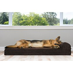FurHaven Pet Dog Bed | Deluxe Orthopedic Faux Fleece & Corduroy Chaise Couch Pet Bed for Dogs & Cats - Available in Multiple Colors & Sizes