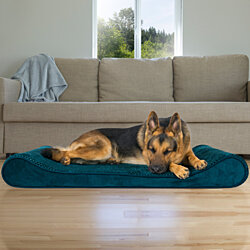 FurHaven Pet Dog Bed | Orthopedic Minky Plush & Velvet Luxe Lounger Pet Bed for Dogs & Cats - Available in Multiple Colors & Sizes