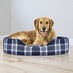 FurHaven Pet Dog Bed | Oval Terry Fleece and Plaid Pet Bed for Dogs & Cats - Available in Multiple Colors & Sizes