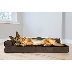 FurHaven Pet Dog Bed | Deluxe Orthopedic Plush & Velvet L-Shaped Chaise Couch Pet Bed for Dogs & Cats - Available in Multiple Colors & Sizes