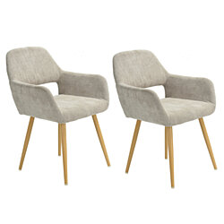 Accent Chairs Beige Velvet Scandinavian Leisure Chairs with Metal Legs Living Room Side Chair Set of 2