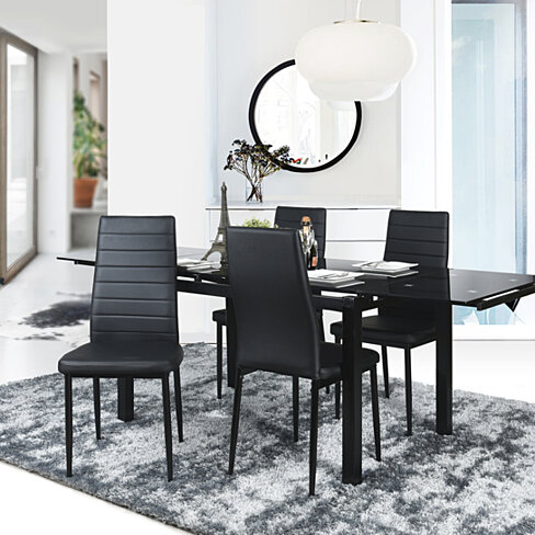 Home Dining Chairs High Backrest Chair Black Living Room Side Chairs(Set of 4)