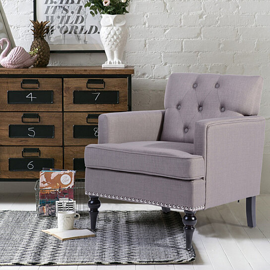 Magnificent Arm Chair Linen Fabric Upholstered Accent Chair Leisure Single Sofa Wood Leg Short Links Chair Design For Home Short Linksinfo