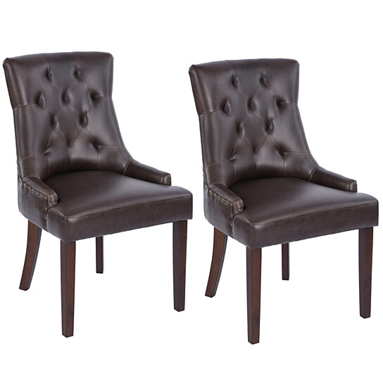 Dining Chairs Bonded PU Leather Tufted Accent Chair Set of 2